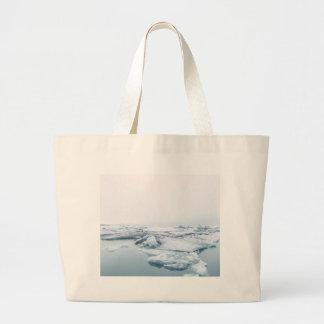 Grand Tote Bag Glaciers de l'Islande - blanc