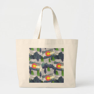 Grand Tote Bag Gris du Colorado d'aquarelle