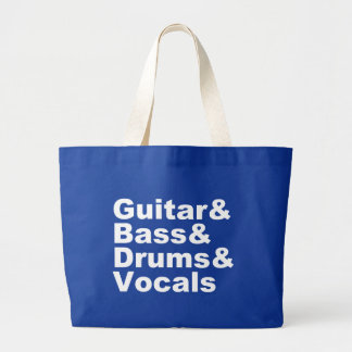 Grand Tote Bag Guitar&Bass&Drums&Vocals (blanc)