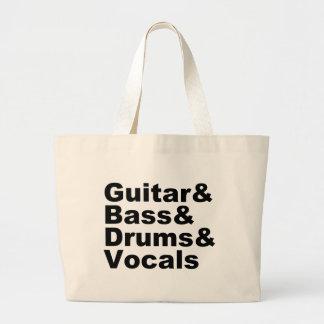 Grand Tote Bag Guitar&Bass&Drums&Vocals (noir)