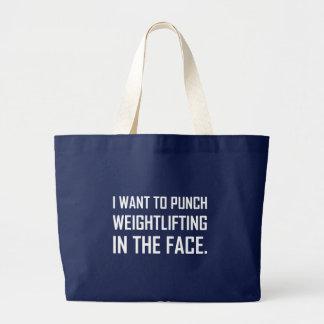 Grand Tote Bag Haltérophilie de poinçon dans le visage