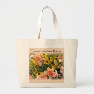 Grand Tote Bag Hémérocalle de pêche et fleurs jaunes de cône