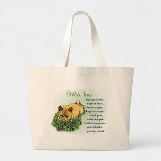 Grand Tote Bag Héritage de Shiba Inu des cadeaux d'amour