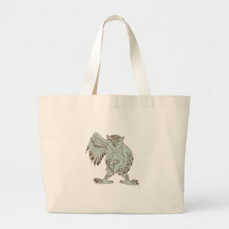 Grand Tote Bag Hibou tenant le dessin spartiate de casque