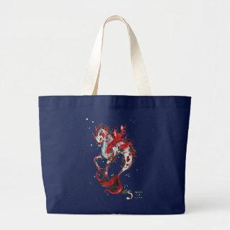 Grand Tote Bag Hippocampe de licorne de cheval de poissons de Koi