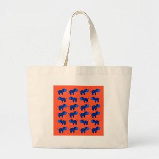 Grand Tote Bag HIPPOPOTAMES de conception, conception bleue