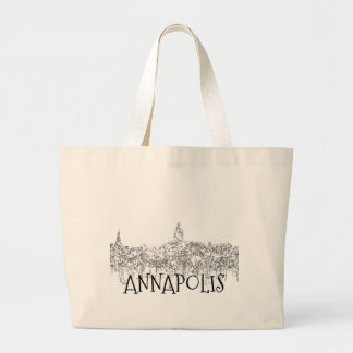 Grand Tote Bag Horizon d'Annapolis le Maryland SG-Noir et blanc
