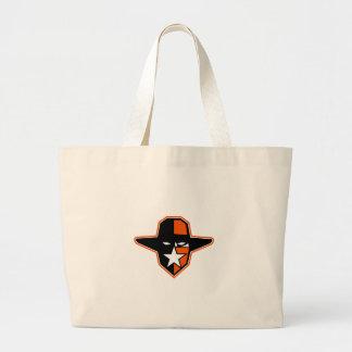 Grand Tote Bag Icône d'étoile de hors-la-loi de cowboy