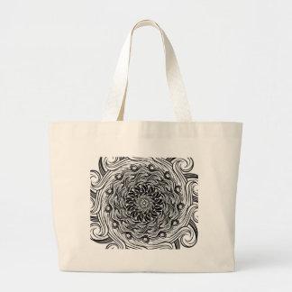 Grand Tote Bag Illusion optique de griffonnage fleuri de zen