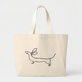 Grand Tote Bag Illustration au trait teckel un d'oreilles de vol