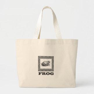 Grand Tote Bag illustration encadrée de grenouille