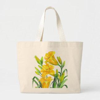 Grand Tote Bag Illustration florale de Lillies de jour jaune