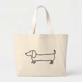 Grand Tote Bag Illustration noire transparente de teckel