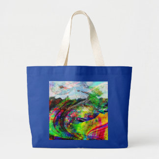 Grand Tote Bag Imaginaire tropical abstrait