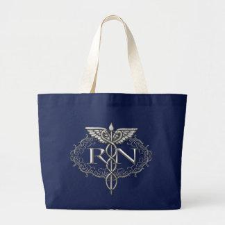 Grand Tote Bag Infirmière argentée ovale de RN de caducée