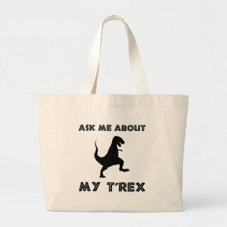 Grand Tote Bag Interrogez-moi au sujet de T Rex drôle