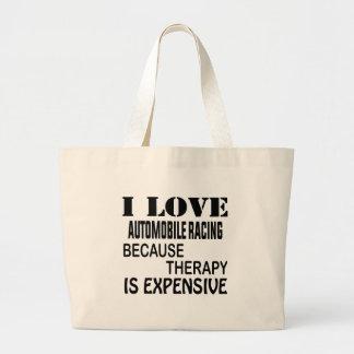 Grand Tote Bag J'aime l'automobile emballant puisque la thérapie