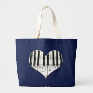 Grand Tote Bag J'aime le piano ou le clavier de coeur de musique