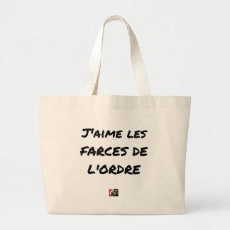 Grand Tote Bag J'aime les FARCES de l'ordre - Jeux de Mots