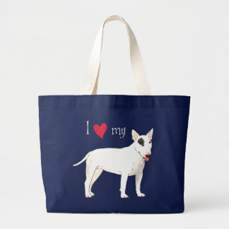 Grand Tote Bag J'aime mon bull-terrier