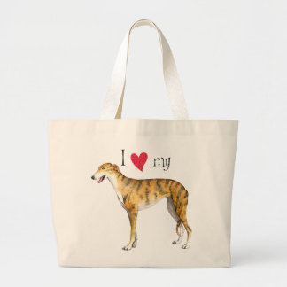 Grand Tote Bag J'aime mon lévrier