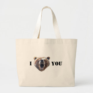 Grand Tote Bag Je Coeur-Visage-Ours vous
