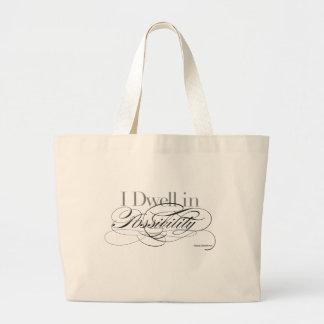 Grand Tote Bag Je demeure dans la possibilité - citation d'Emily