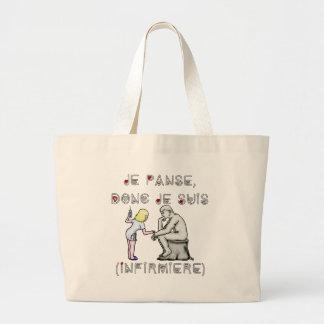 Grand Tote Bag Je panse donc je suis (Infirmière) - Jeux de mots