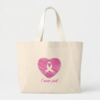 Grand Tote Bag Je porte le symbole de conscience de cancer du