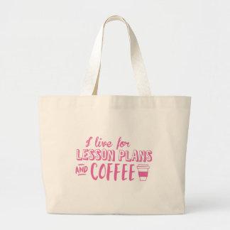 Grand Tote Bag je vis pour les plans de cours et le café