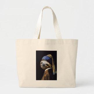 Grand Tote Bag La paresse avec une boucle d'oreille de perle