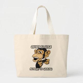Grand Tote Bag La tranquillité svp, singe est jeu