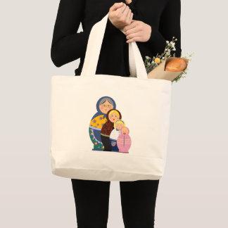 Grand Tote Bag La vie russe de Matryoshka de poupée présente
