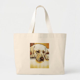Grand Tote Bag Labrador retriever jaune sur la porte