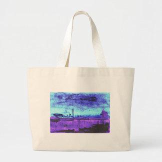Grand Tote Bag Lagune bleue : Aquarelle originale