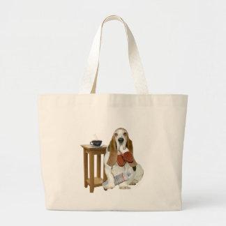 Grand Tote Bag L'aide du papa de Basset Hound