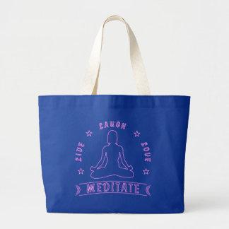 Grand Tote Bag L'amour vivant de rire méditent texte femelle (le