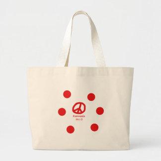 Grand Tote Bag Langue de Kannada et conception de symbole de paix