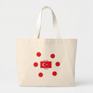 Grand Tote Bag Langue et conception turques de drapeau de la