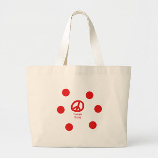 Grand Tote Bag Langue et conception turques de symbole de paix