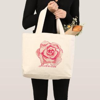 Grand Tote Bag L'aquarelle rose s'est levée | personnalisée