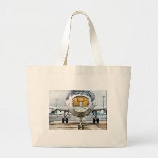 Grand Tote Bag L'avion cassé à l'aéroport