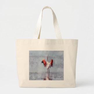 Grand Tote Bag Le flamant rose dans l'aquarelle