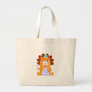 Grand Tote Bag Le lion avec la partie attribue génial stylisé