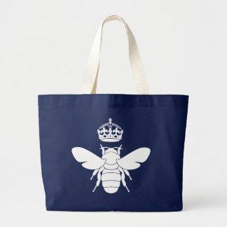 Grand Tote Bag Le logo blanc de reine des abeilles… sont vous une