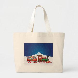 Grand Tote Bag Le père noël sur le train avec des présents sur la