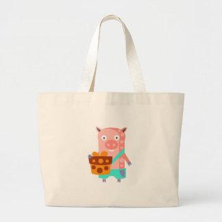 Grand Tote Bag Le porc avec la partie attribue génial stylisé