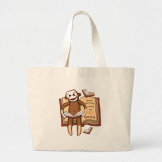 Grand Tote Bag Le singe de chaussette lit