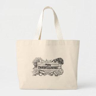 Grand Tote Bag Légume de produit de thanksgiving et signe de