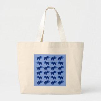 Grand Tote Bag Les hippopotames mignons conçoivent le DOUX BLEU